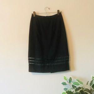 Vintage Floral Black Pencil Skirt